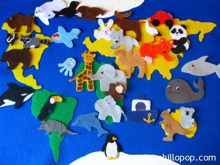 выкройки животных для карты мира