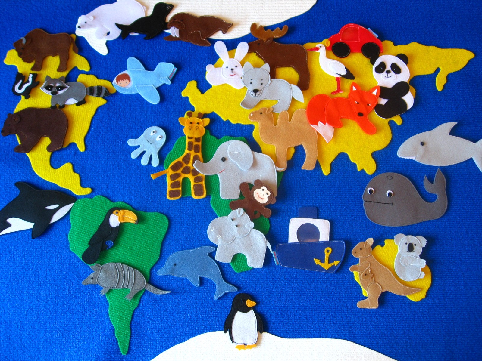 выкройки карты из фетра животные мира
