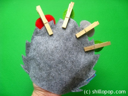 Hedgehog Felt Hand Puppet and Clothespin toys PDF Sewing Pattern