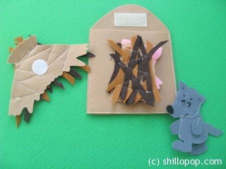 The Three Little Pigs Felt Finger Puppet Toys Pattern