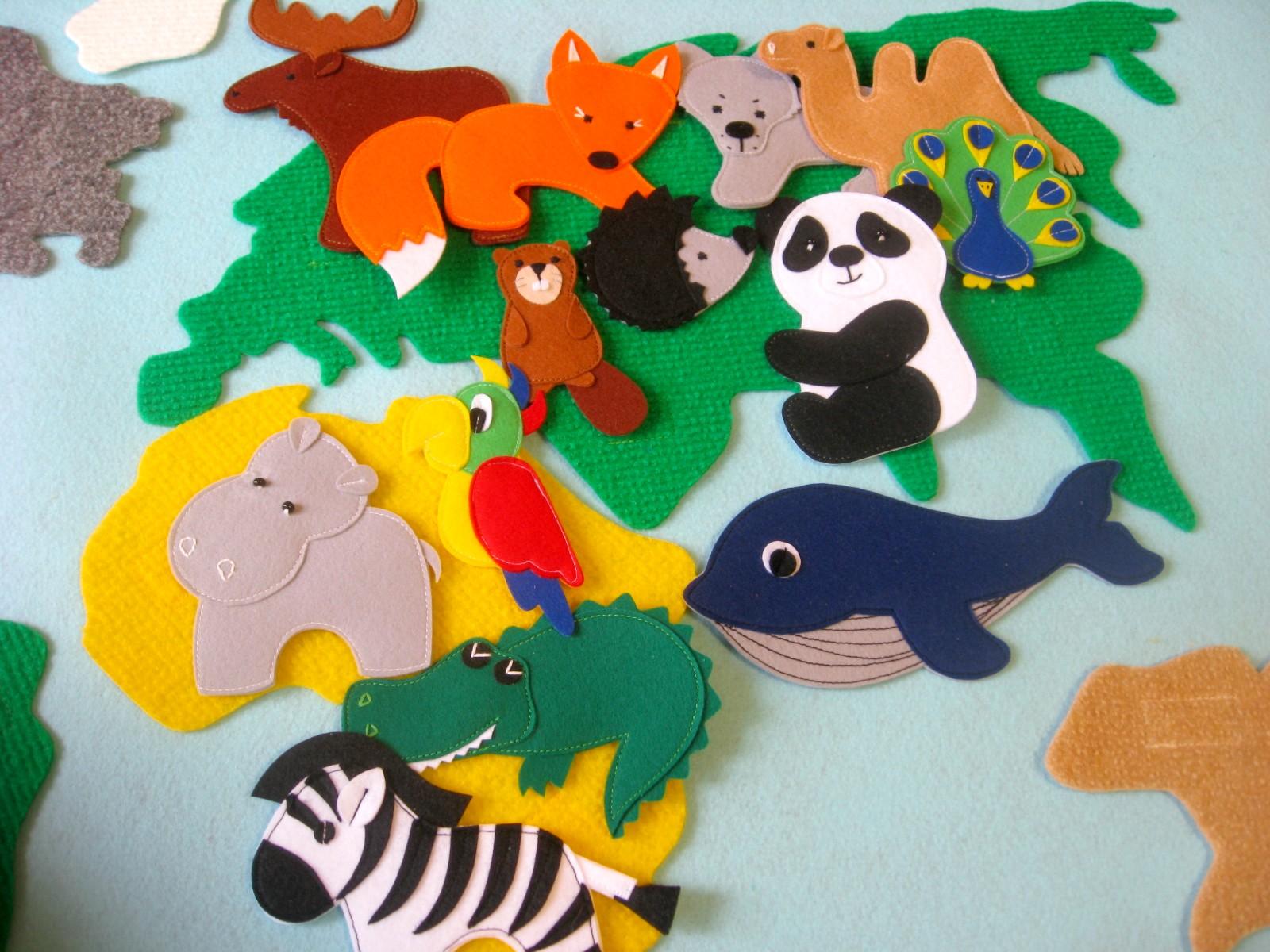 игрушки из фетра на липучках животные карта мира
