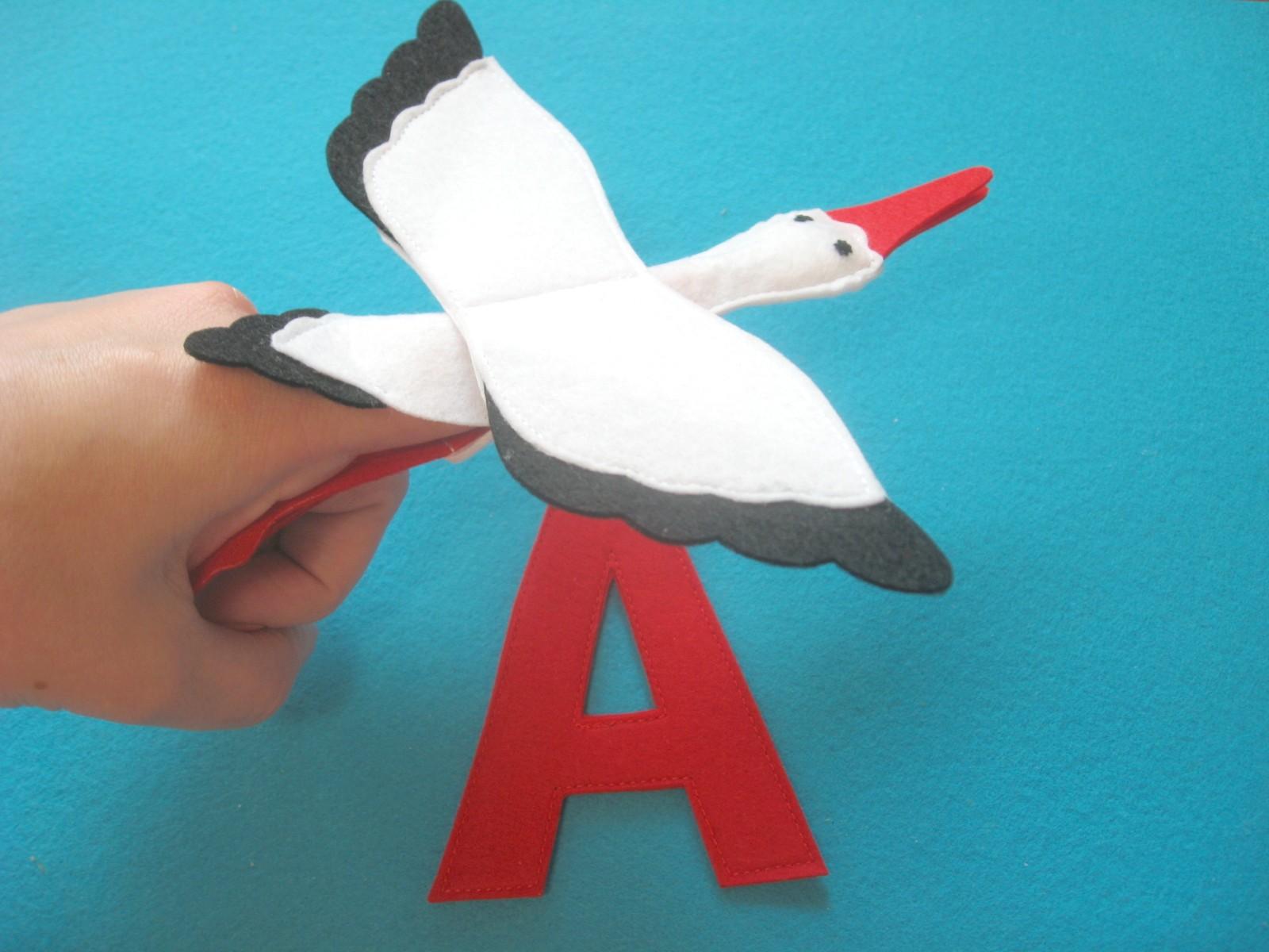 Аист пальчиковая игрушка Азбука из фетра выкройки