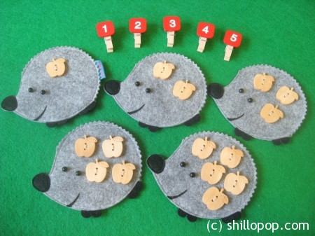Fine Motor Skills and Counting with felt Hedgehog Clothespins math