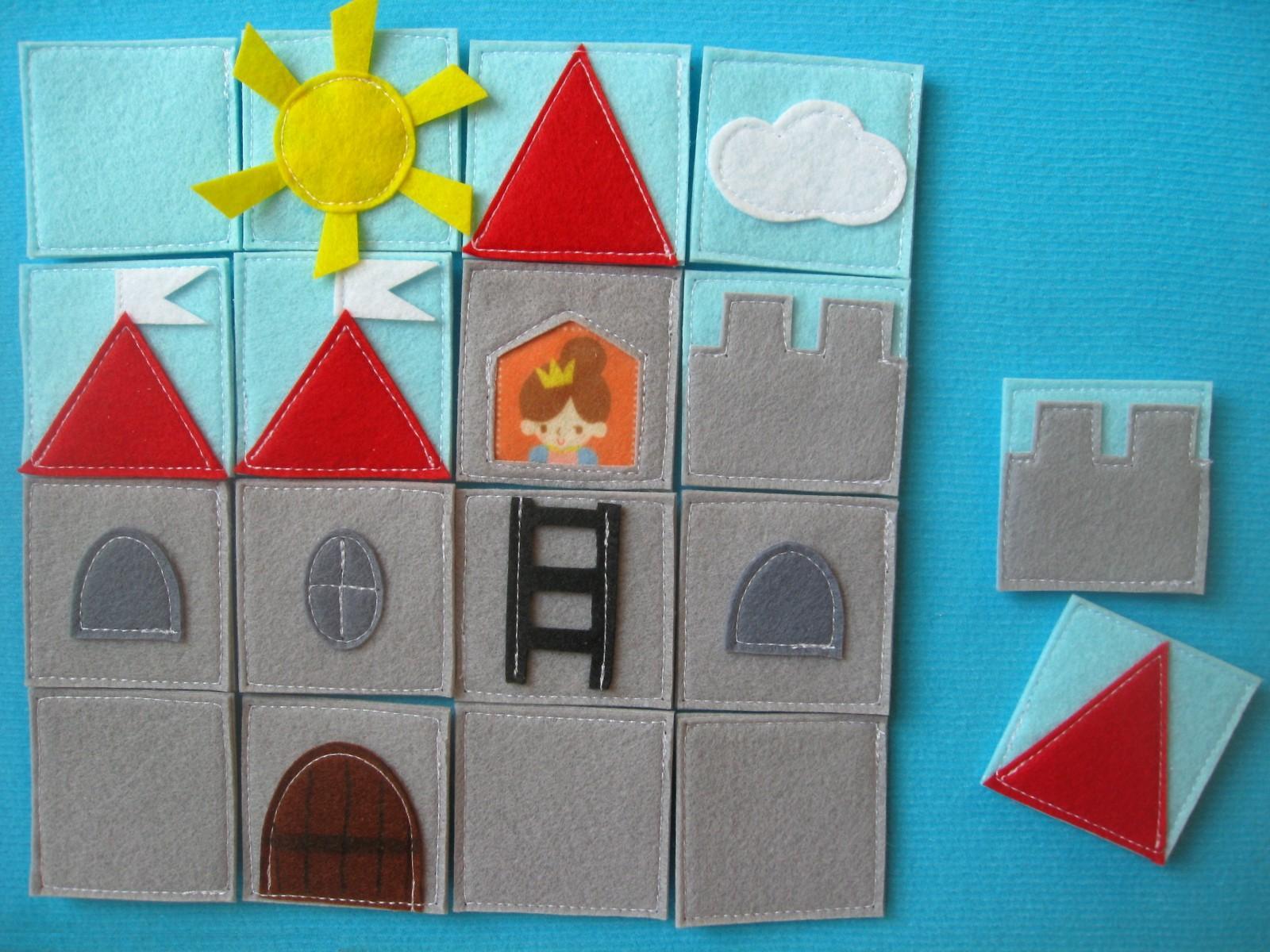 пазлы из фетра замок принцессы игры в дорогу своими руками