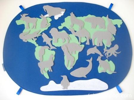 карта мира из фетра силуэты 2