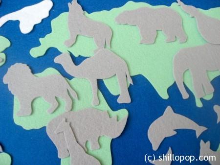 карта мира из фетра силуэты 3