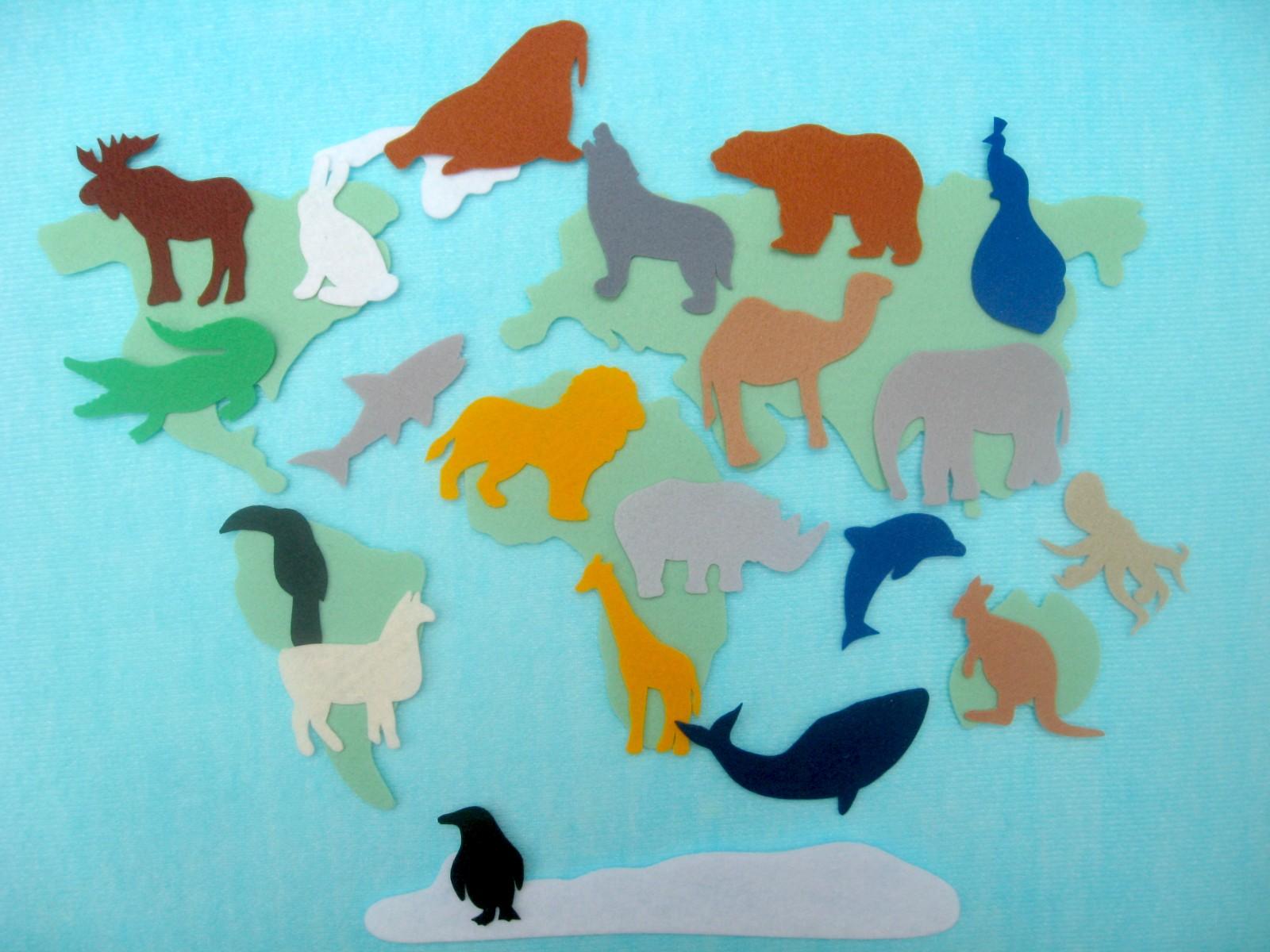 карта мира из фетра силуэты животных выкройки