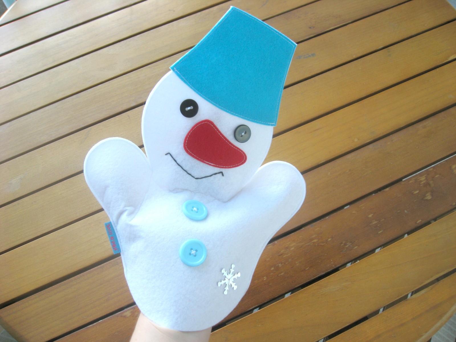 Снеговик перчаточная кукла из фетра игрушка на руку бибабо выкройка
