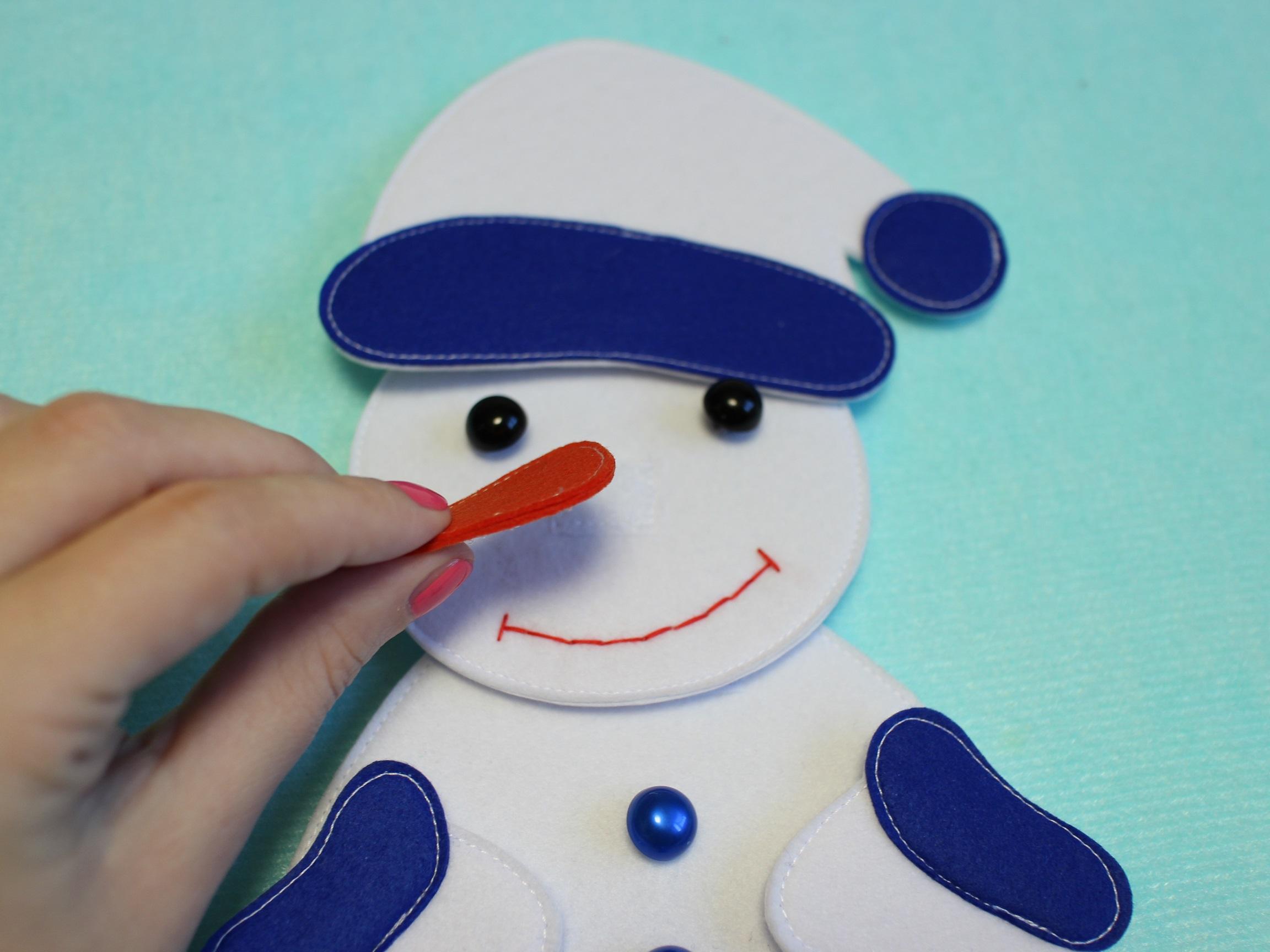 Снеговик - пазл из фетра выкройка развивающей игрушки из фетра
