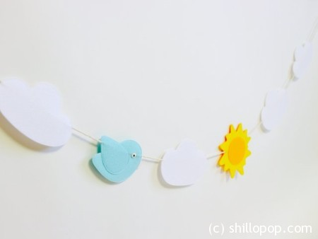 Spring Felt Clouds and Sun Garland PDF Pattern  And Free How To