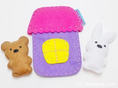 Игрушка из фетра в кармашек выкройки мишка зайчик домик 1