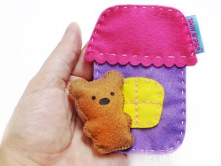 Игрушка из фетра в кармашек выкройки мишка зайчик домик 4