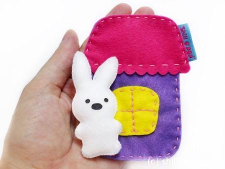 Игрушка из фетра в кармашек выкройки мишка зайчик домик 7