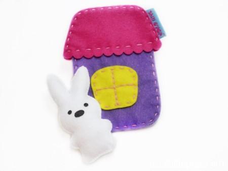 Игрушка из фетра в кармашек выкройки мишка зайчик домик 8