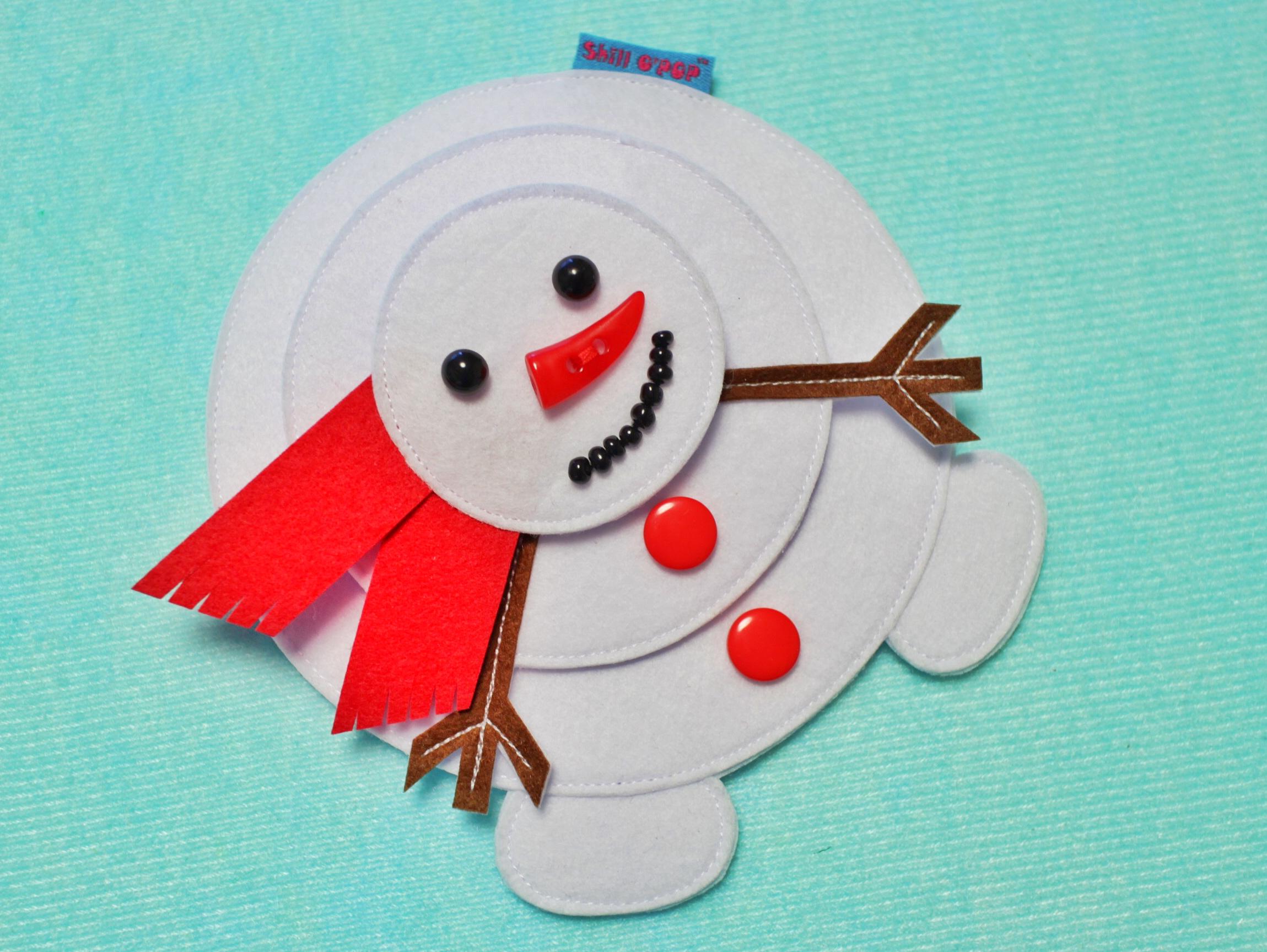 пазл снеговик из фетра с липучками выкройки мастер-класс