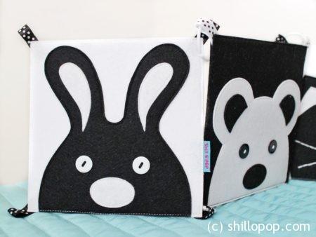 черно белая контрастная книга для малышей из фетра выкройки 5