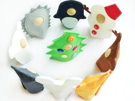 выкройки новогодние игрушки из фетра адвент пальчиковый театр